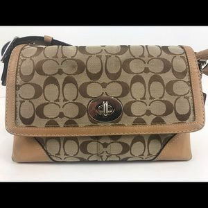 Coach Purse Hampton Khaki Shoulder Bag Crossbody